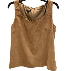 Talbots Tan Suede Leather Sleeveless Top Sz S